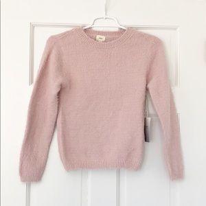 O&O sweater size small pink fuzzy crewneck